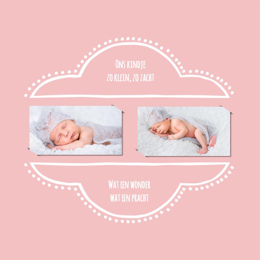Geboortekaartje retro roze OT 2