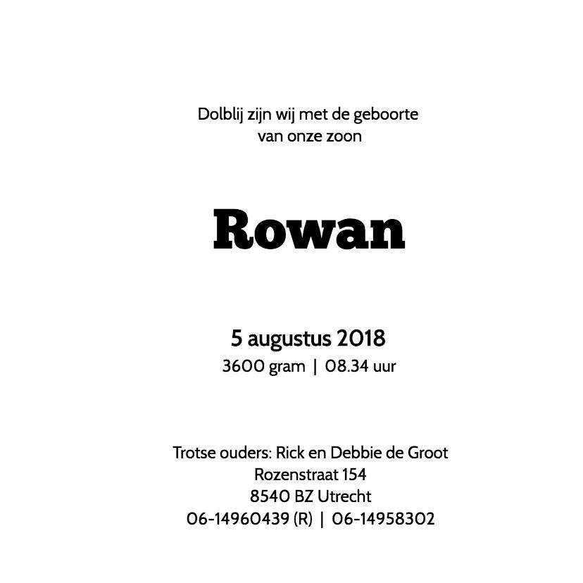 Geboortekaartje Rowan 3