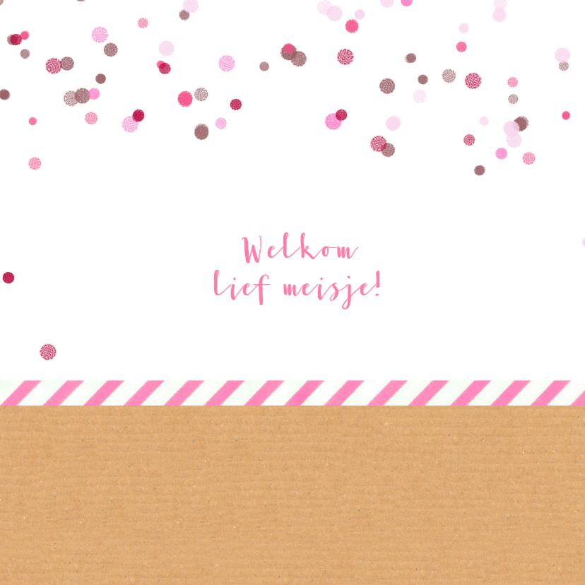 Geboortekaartje roze confetti 2