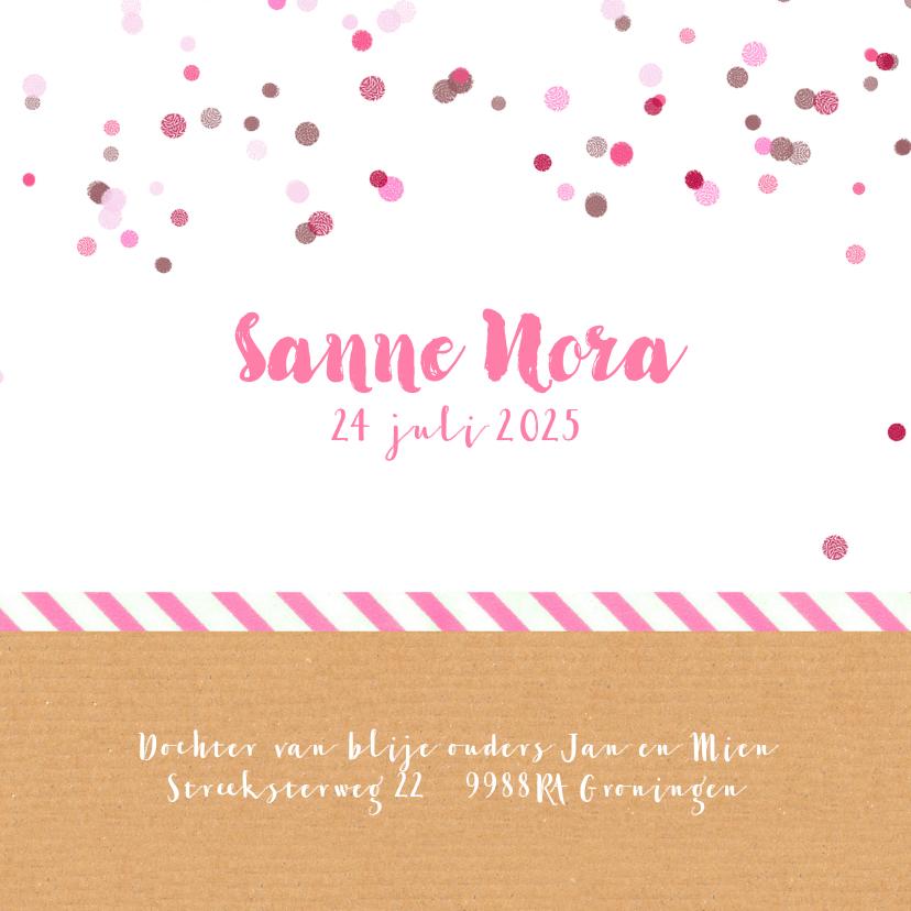 Geboortekaartje roze confetti 3
