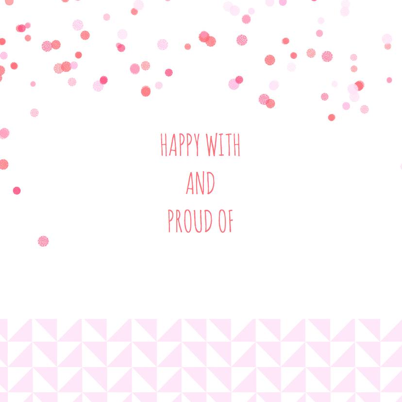 Geboortekaartje roze driehoekjes 2