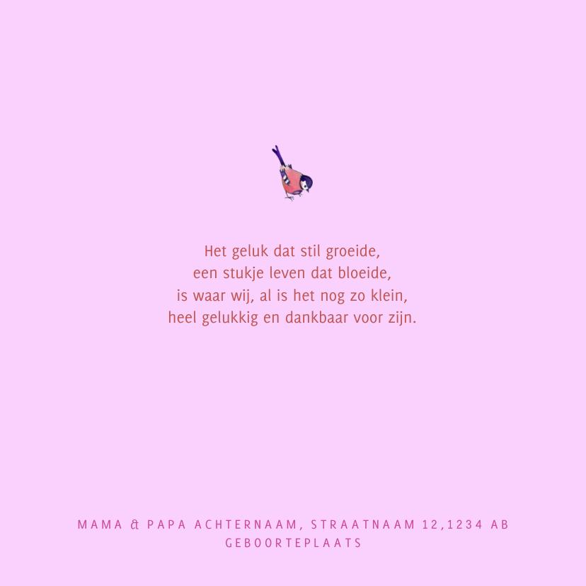 Geboortekaartje Roze Hart Bloem 2
