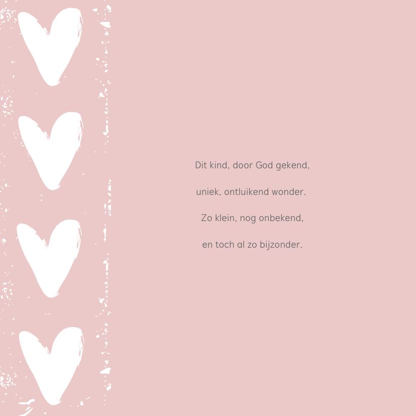 Geboortekaartje roze hart  label 2