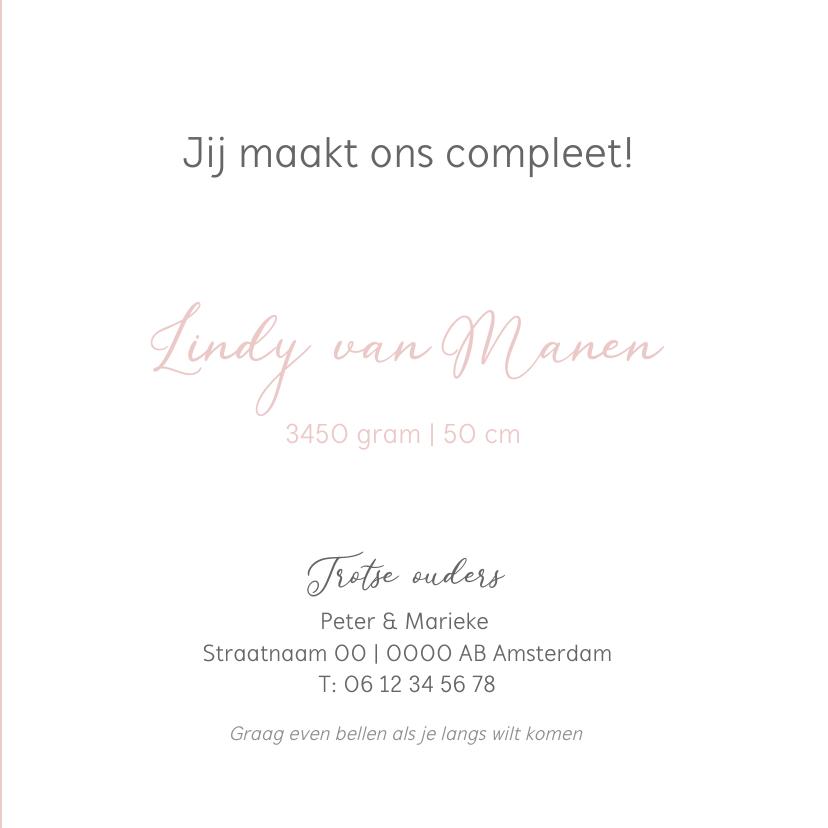 Geboortekaartje roze hart  label 3