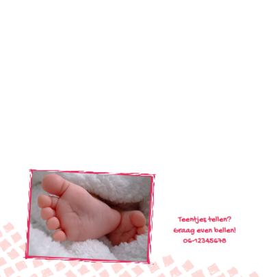 Geboortekaartje roze ruit foto 2