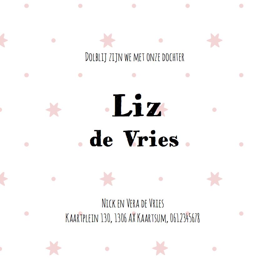 Geboortekaartje roze sterren Liz - LO 3