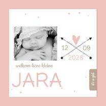 Geboortekaartje roze stip