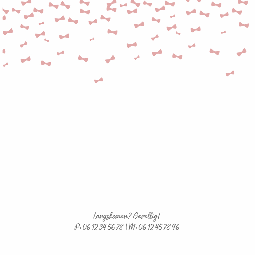 Geboortekaartje roze strikjes  2