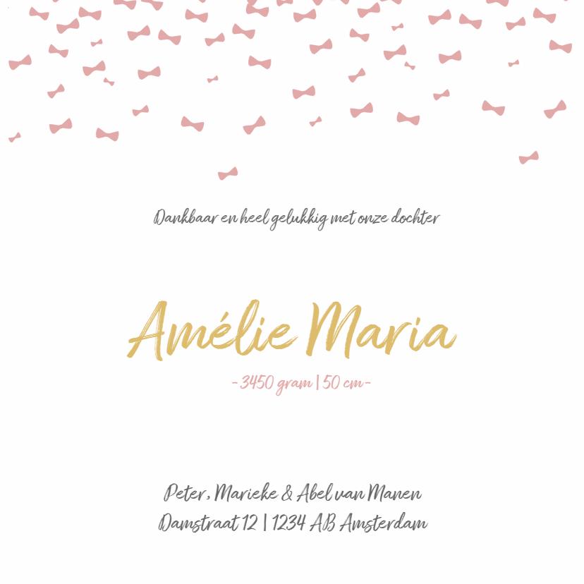 Geboortekaartje roze strikjes  3