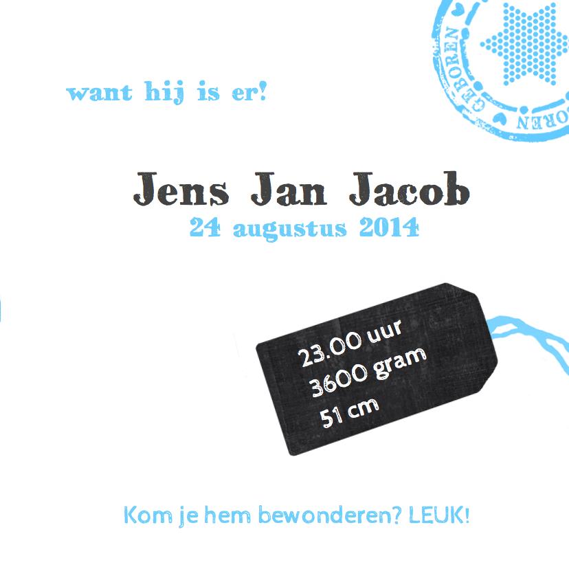 Geboortekaartje schoolbord label 3