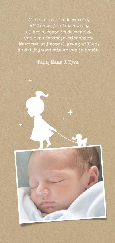 Geboortekaartje silhouet van ballon en meisje 2