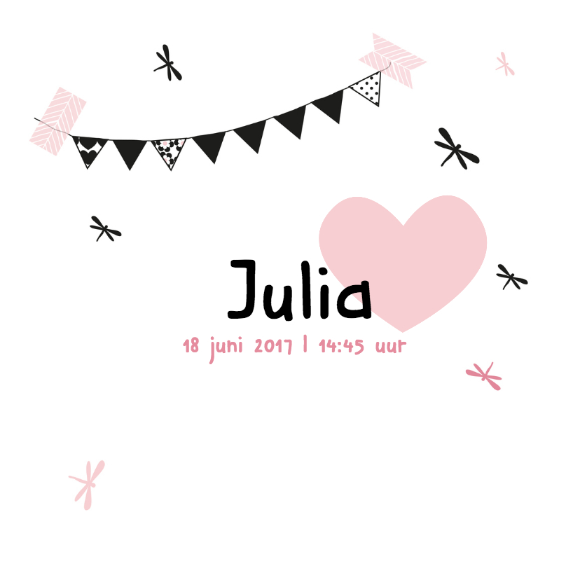 Geboortekaartje slinger Julia 3