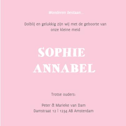 Geboortekaartje Sophie hout label 3