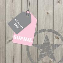Geboortekaartjes - Geboortekaartje Sophie hout label