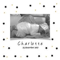 Geboortekaartjes - Geboortekaartje stars gold dots