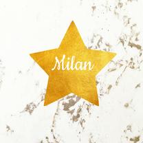 Geboortekaartjes - Geboortekaartje ster goud marmer