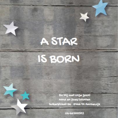 Geboortekaartje ster Jan 2