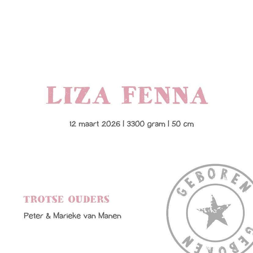 Geboortekaartje ster roze Liza 3