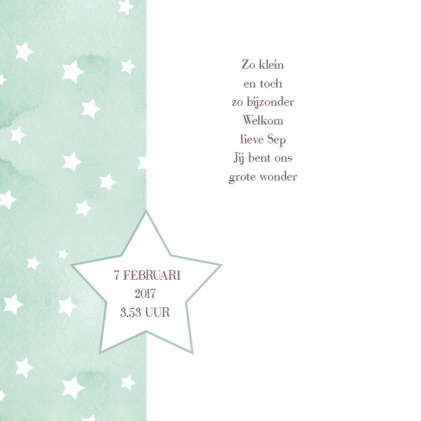 Geboortekaartje sterren zeegroen 2