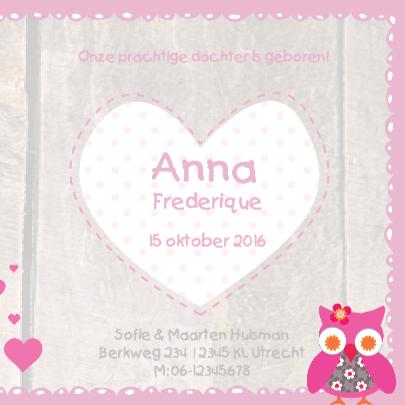 Geboortekaartje Stip Uil Anna 3