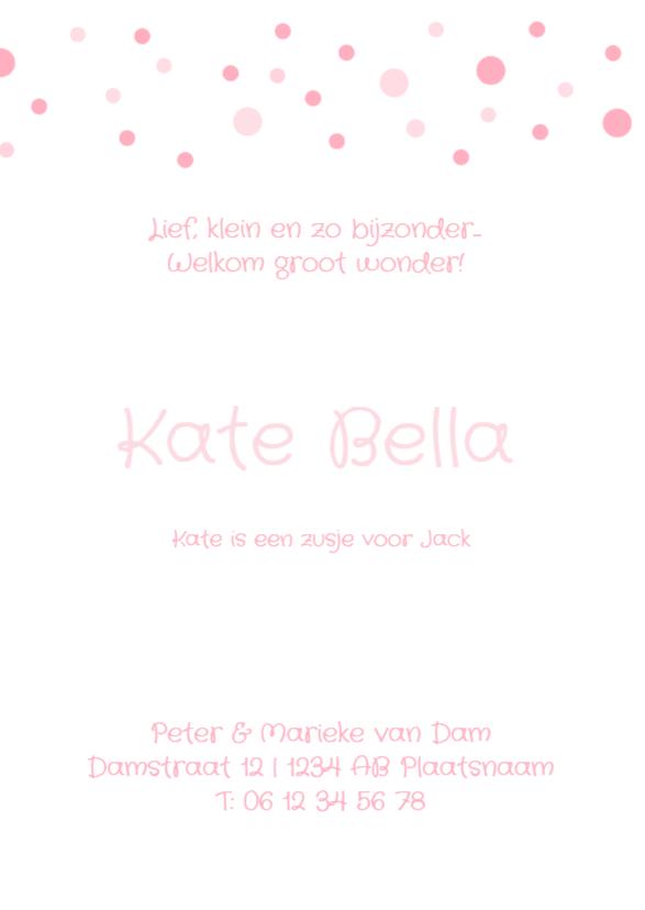 Geboortekaartje stippen Kate 3