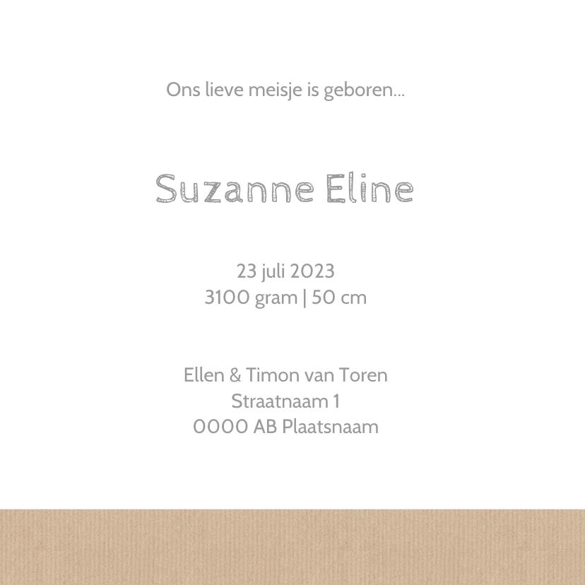 Geboortekaartje Suzanne papier 3
