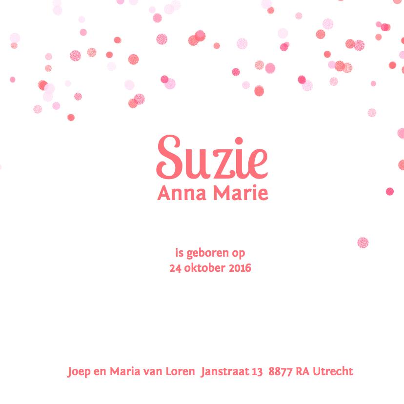 Geboortekaartje tekstwolk roze 3