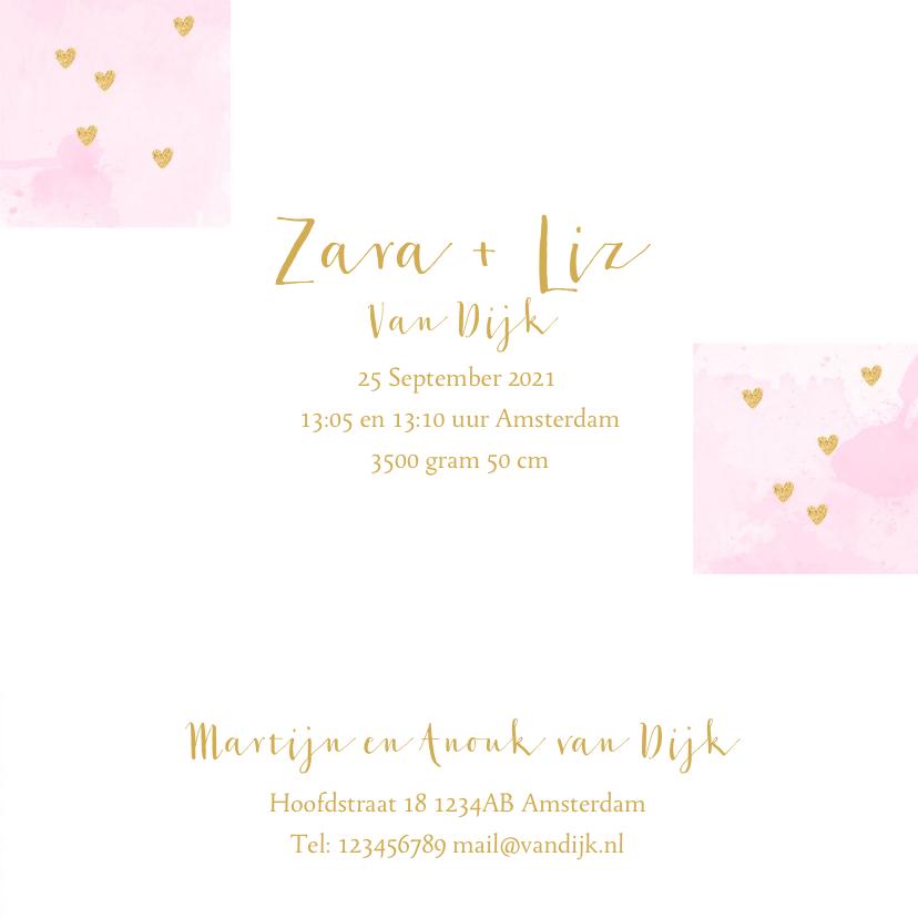 Geboortekaartje tweeling foto aquarel hartjes roze  3