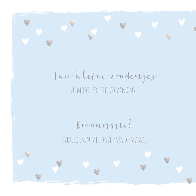 Geboortekaartje tweeling hartjes lichtblauw zilver 2