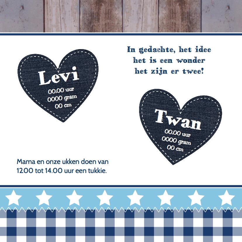 Geboortekaartje tweeling jongens hartjes - LB 2