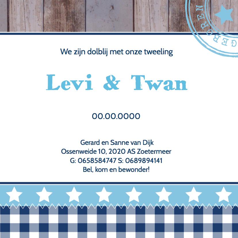 Geboortekaartje tweeling jongens hartjes - LB 3