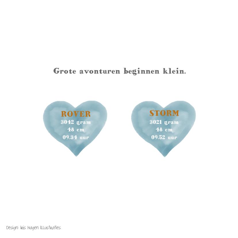 Geboortekaartje tweeling jongens met vos en watercolour hart 2