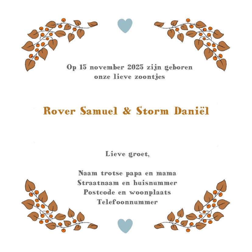 Geboortekaartje tweeling jongens met vos en watercolour hart 3