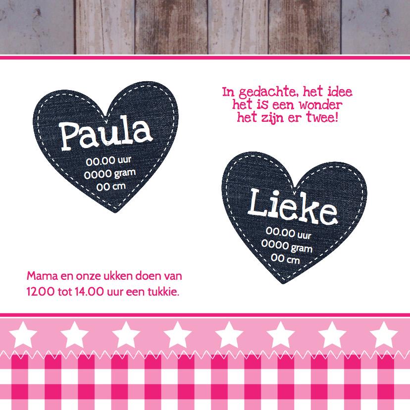Geboortekaartje tweeling meisjes hartjes - LB 2