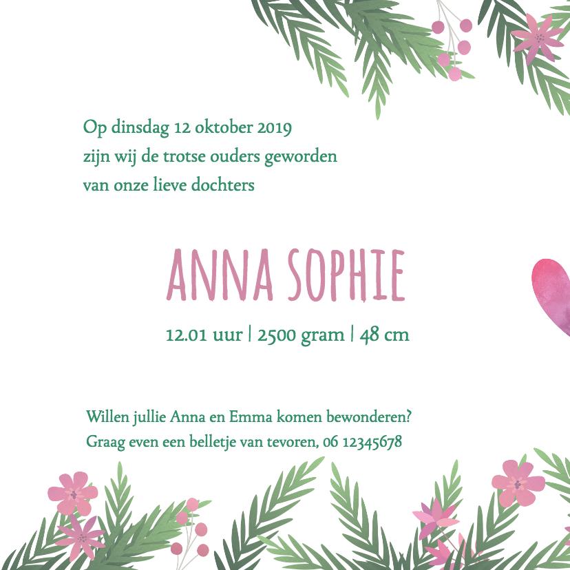 Geboortekaartje tweeling meisjes met bloemen 2