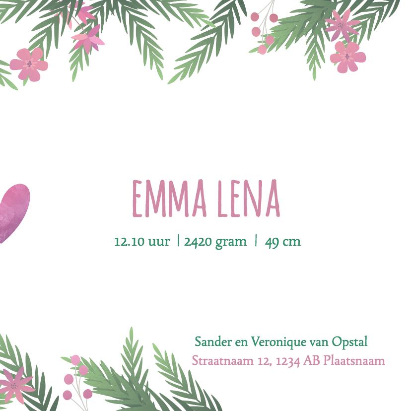 Geboortekaartje tweeling meisjes met bloemen 3