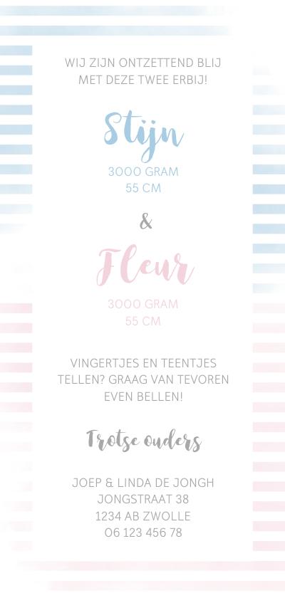 Geboortekaartje tweeling met strepen in roze/blauw achterkant