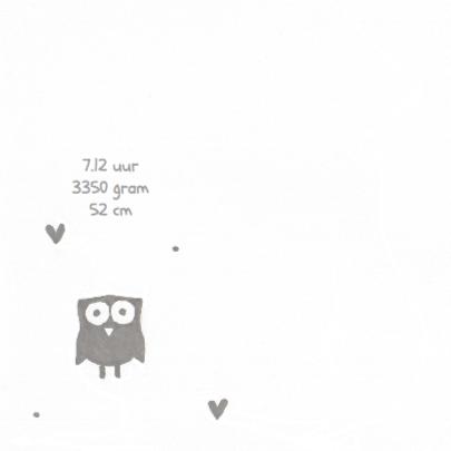 Geboortekaartje uil op hart 2