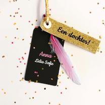 Geboortekaartjes - geboortekaartje veer meisje roze