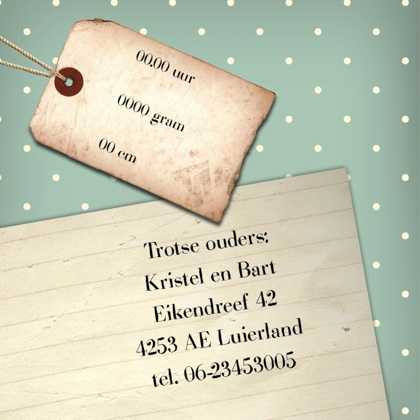 Geboortekaartje vintage label 2