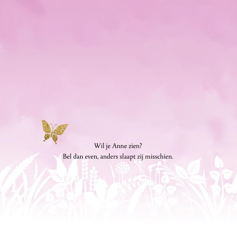 Geboortekaartje vlinder met gewassen achtergrond voor meisje 2