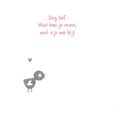 Geboortekaartje vogel op hart 2
