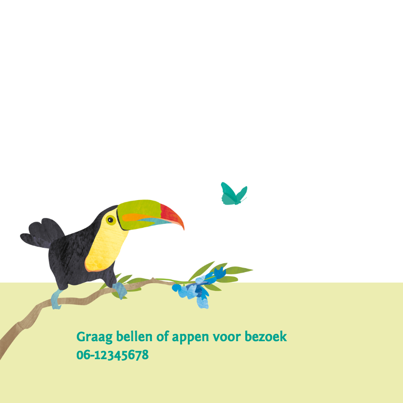 Geboortekaartje vogels in jungle 2