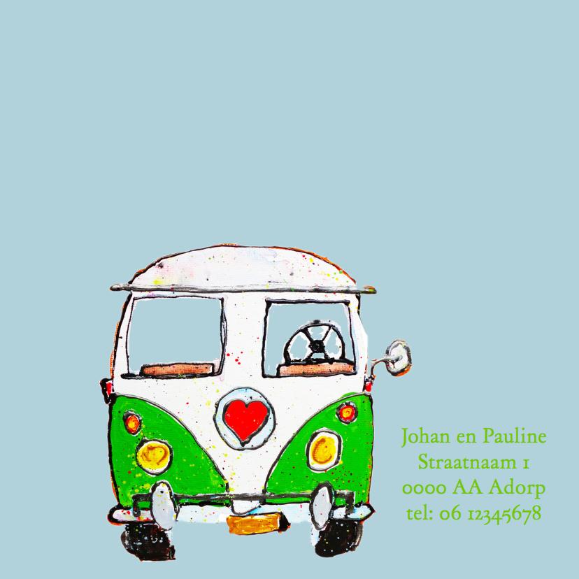 Geboortekaartje volkswagenbus kleur 2