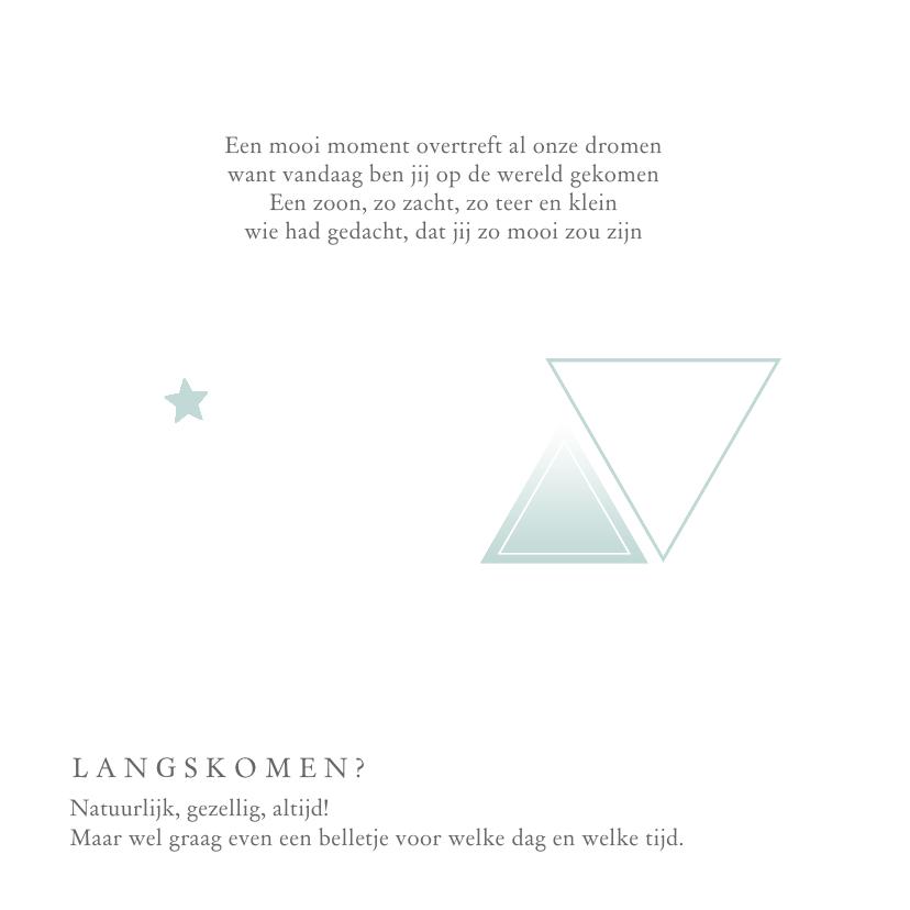 Geboortekaartje voor een  jongen met geometrie sterren 2
