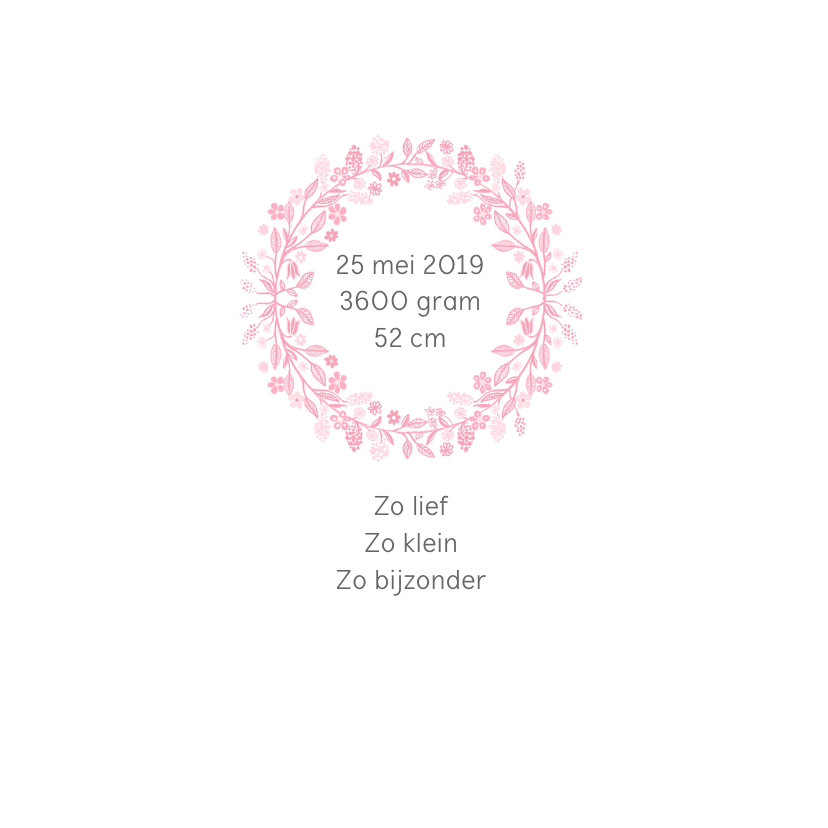 Geboortekaartje voor een meisje met een roze krans 2