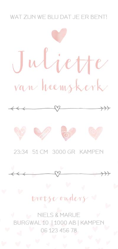Geboortekaartje voor een meisje met hartjes achterkant