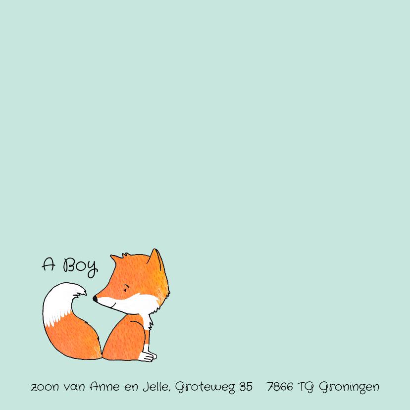 Geboortekaartje getekend vos 2