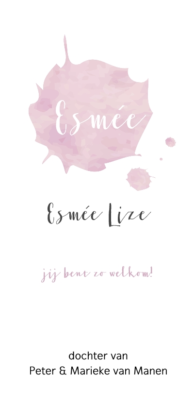 Geboortekaartje watercolor roze brush 3