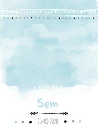 Geboortekaartjes - Geboortekaartje watercolour pijl Sem